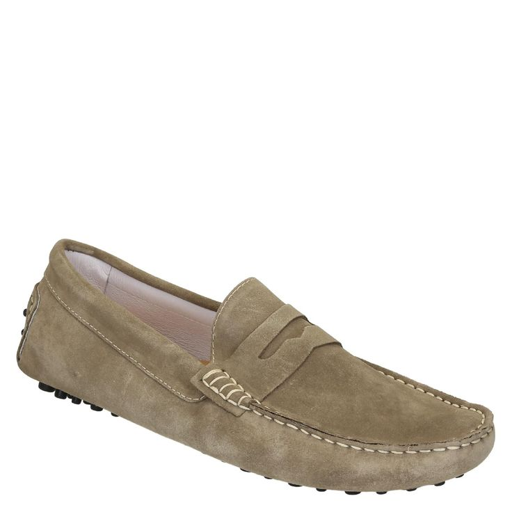 Beige suede driving moccasins for men handmade in Italy - Italian Boutique €194