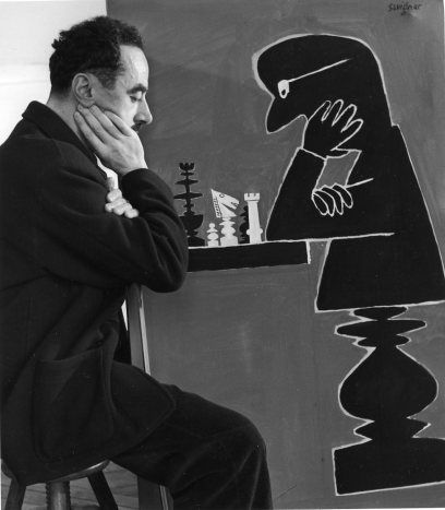 Raymond Savignac aux échecs,1 9 5 0, photo by Robert Doisneau.