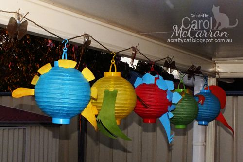A Crafty Cat  - Dinosaur Train themed birthday party, Dinosaur paper lanterns
