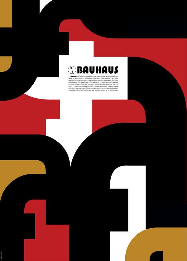 "Andreas Xenoulis has designed wonderful posters as a peculiar tribute to the Bauhaus: he's created this work inspired by the typical principles of the ""New Typography,"" realized in geometric structure, simplicity of the forms and the original Bauhaus colors."