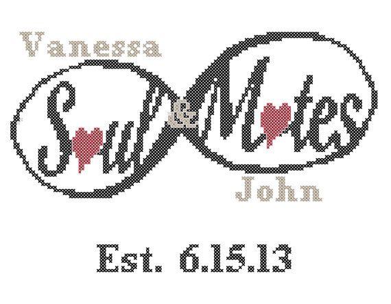 Wedding Cross Stitch Pattern Soulmates by oneofakindbabydesign, $6.95