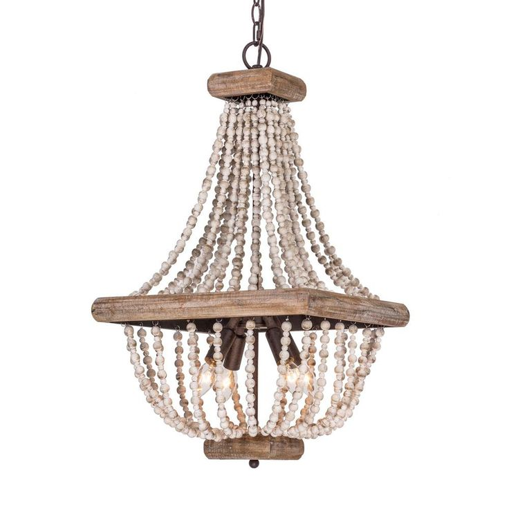 Parrot Uncle Regas 4 Light Wood Bead Candle Style Chandelier D2252 4ab110v The Home Depot Wood Bead Chandelier Wood Chandelier Candle Style Chandelier