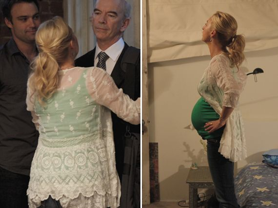 Nina spices up her maternity style with a long lace peplum cardigan, basic green tank and jeans. Yummy mummy!