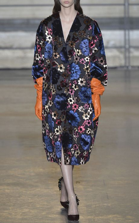 Hand-Painted Jacquard Flowers Coat by Rochas for Preorder on Moda Operandi