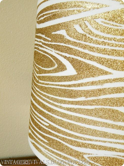 Wood Grain Glitter Lampshade With Krylon Glitter Blast - Vintage Revivals. This is so completely fabulous that I can barely keep myself from running out to get a new lampshade in my P.J.s