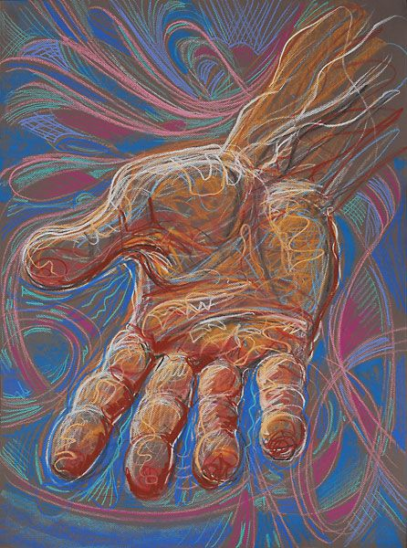 Various coloured pastels are used in conjunction with squiggly lines to effectively give the drawing a three dimensional perspective, whilst contrasting the background with the hand to highlight the main structure of the drawing.