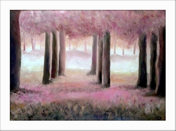 pintura al oleo sobre lienzo bosque encantado refa xcm