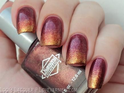 Capture the aesthetic of tons of autumn leaves falling to the ground in this glitter gradient mani. #nails #fall