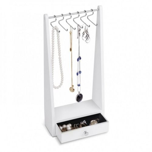 Stojan na šperky Umbra Jewel Rack - bílý (Stojany na šperky, šperkovnice) - Elegantní stojan na šperky vyrobený ze dřeva akovu vbílé barvě.