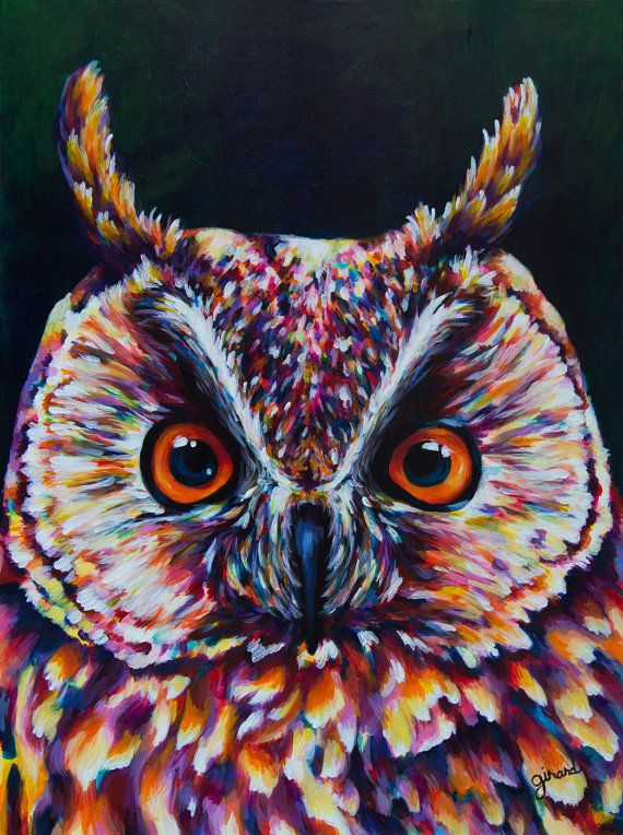 Long-eared Owl Acrylic Painting por claudelle en Etsy