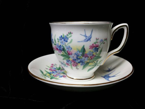 Duchess Bone China Bluebird Cup and Saucer Made by Cupsofthepast