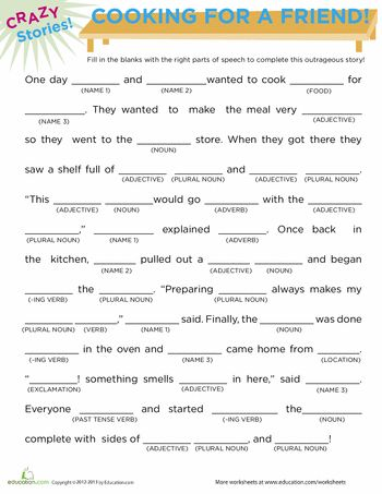 Worksheets: Fill in the Blanks Story: Cooking- great 15 min. time filler