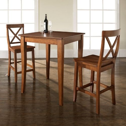 Crosley 3-Piece Pub Dining Set with Cabriole Leg and X-Back Stools - Indoor Bistro Sets at Hayneedle