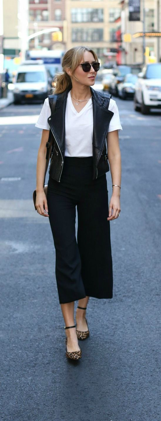 black culottes, black leather vest, white tee, leopard block heel ankle strap pumps, black handbag {milly, dawn levy, zady, sam edelman} {new york fashion week ss17}