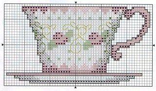 tea cup cross stitch chart