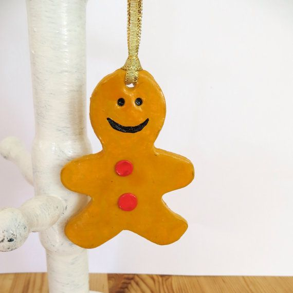 Gingerbread man clay hanging decoration by ZwKaHandCrafts on Etsy