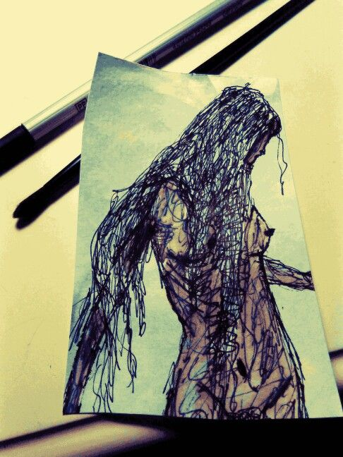 godess covering the waterfront scribble art watercolour