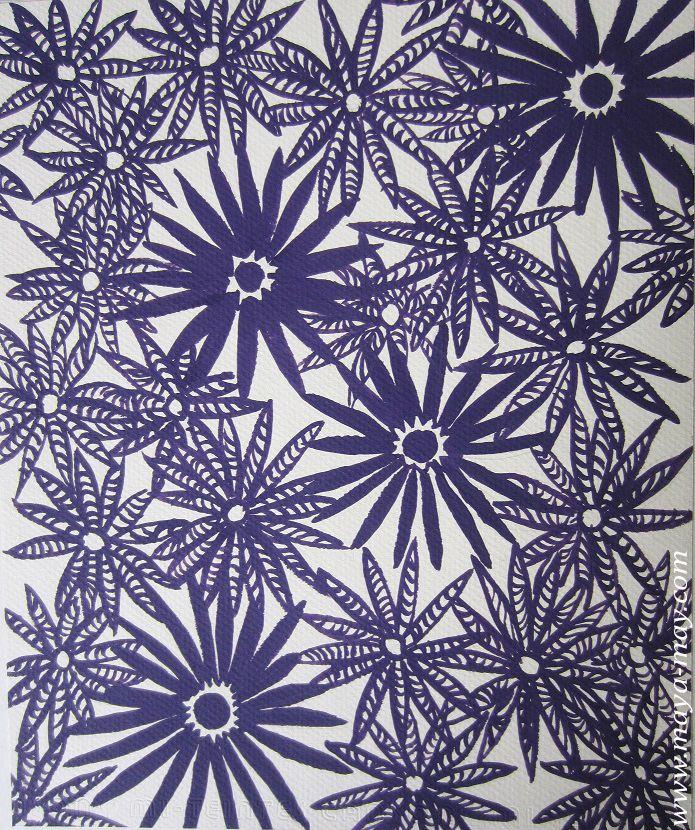 Textile motif design by Angela Kurnia. Color guache. #prints #textiledesign #art #painting #designer #flower #purple