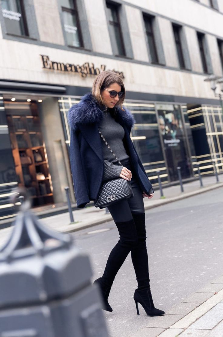over the knee boots leather pants fake fur jacket outfit street style autumn 2017