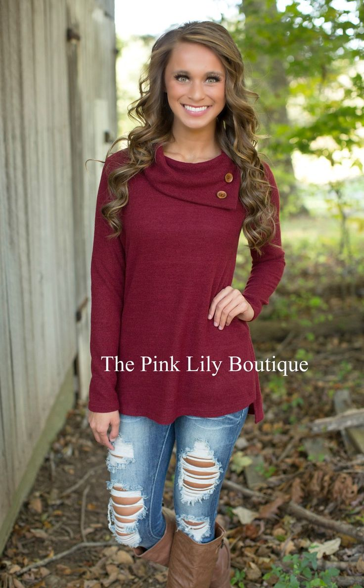 The Pink Lily Boutique - Button Me Up Sweater Wine , $36.00 (http://thepinklilyboutique.com/button-me-up-sweater-wine/)