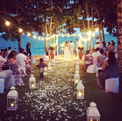love the hanging lights as it is a sunrise wedding that starts while it's yet dark. i dont know about the lanterns on the ground tho
