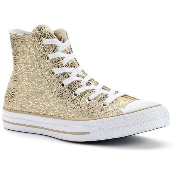 Women's Converse Chuck Taylor All Star Stingray Metallic High-Top... ($75) ❤ liked on Polyvore featuring shoes, sneakers, gold, lace up shoes, lace up sneakers, converse trainers, high top sneakers and metallic sneakers