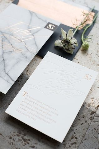 Marble wedding invitations | Mikkel Paige Photography and Moana Events | see more on: http://burnettsboards.com/2015/05/industrial-glam-wedding/