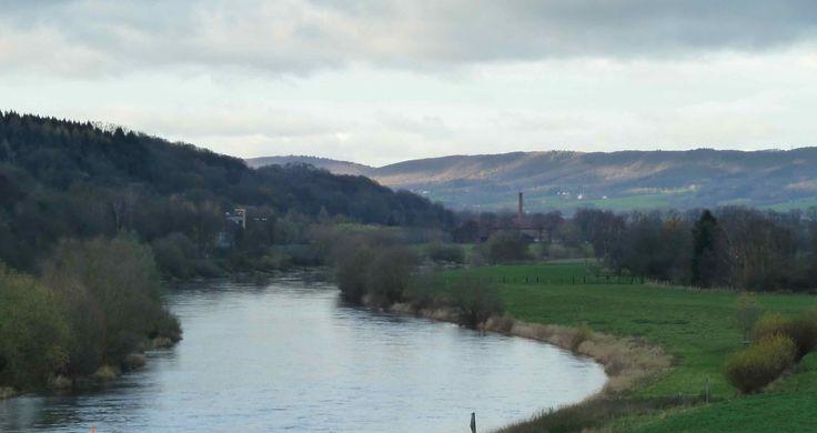 Weser von der Weserbrücke in Vlotho