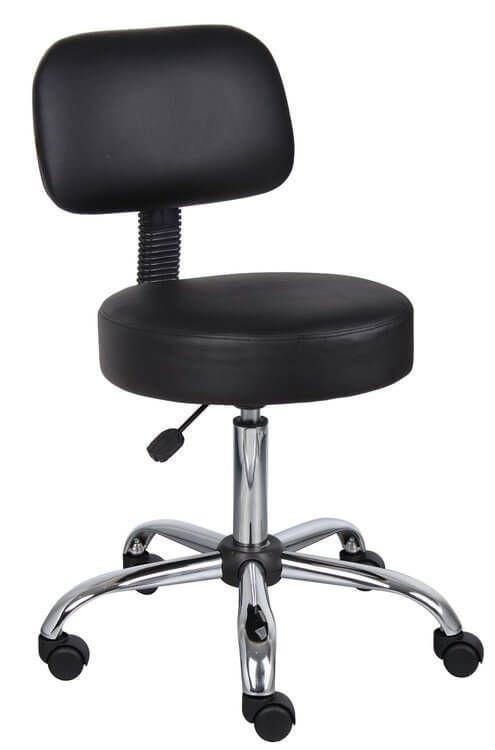 Business Office Chair Boss Black Caressoft Medical Stool W/Back High New #BossOfficeProducts