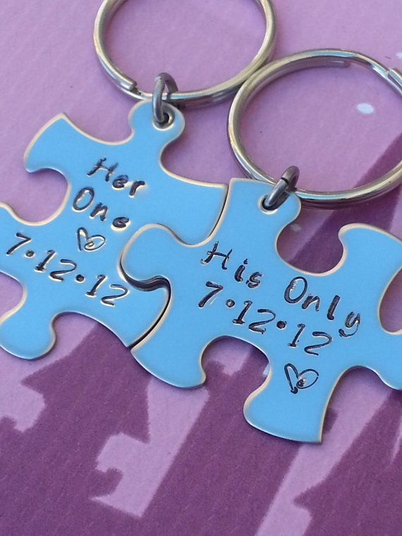 His and Her Puzzle Piece Keychain with wedding date love