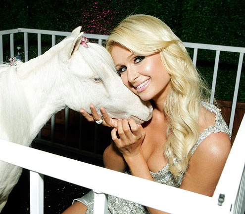 Paris Hilton and her pony Lady Coco Chanel