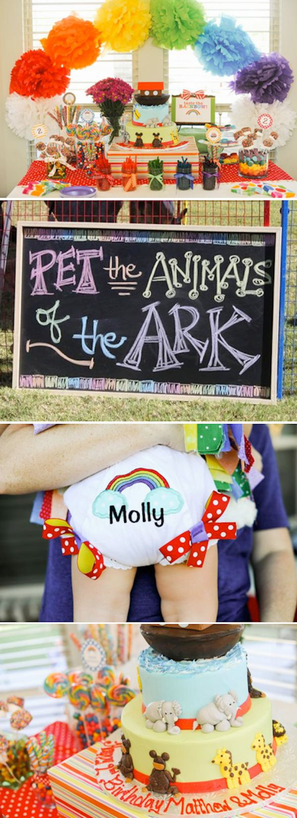 Kara's Party Ideas Noah's Ark Animal Rainbow Twins Birthday ...