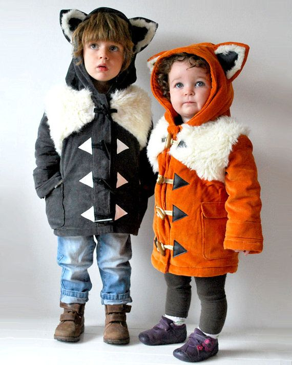 Matching kids coats two animal fox wolf twins pair furry lined faux fur faux leather animals creature halloween warm winter jacket foxy