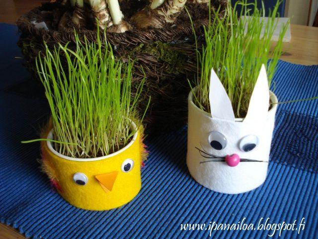askartelua: eläimet, pupu, tipu, rairuoho http://ipanaaskartelua.blogspot.fi/2010/03/rairuohokippoja-pupu-ja-tipu.html