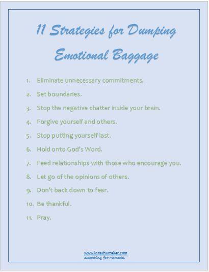 Blog Post - 11 Strategies for Dumping Emotional Baggage Printable