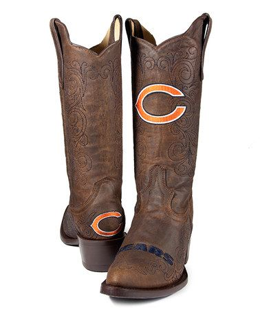 They'll make anything with an NFL team logo, won't they?    Take a look at this Brown Chicago Bears Flyover Cowboy Boots - Women by Old Pro Leather Goods Co. on #zulily today!