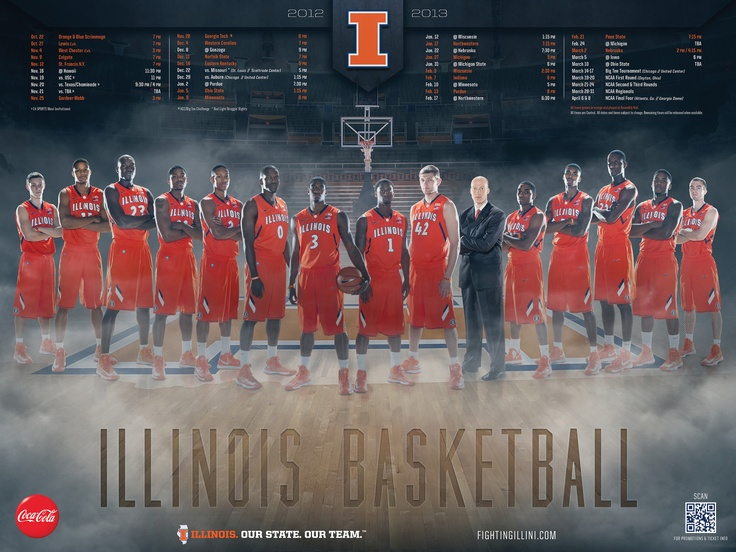 The 2012-13 University of Illinois men's basketball season schedule poster. #Illini #Illinois #B1G