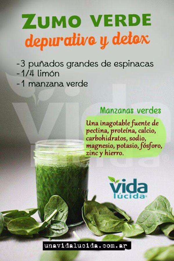 Delicioso zumo verde a base de manzana, espinacas y limón. Anituoxidante y desintoxicante. #jugosverdes #salud