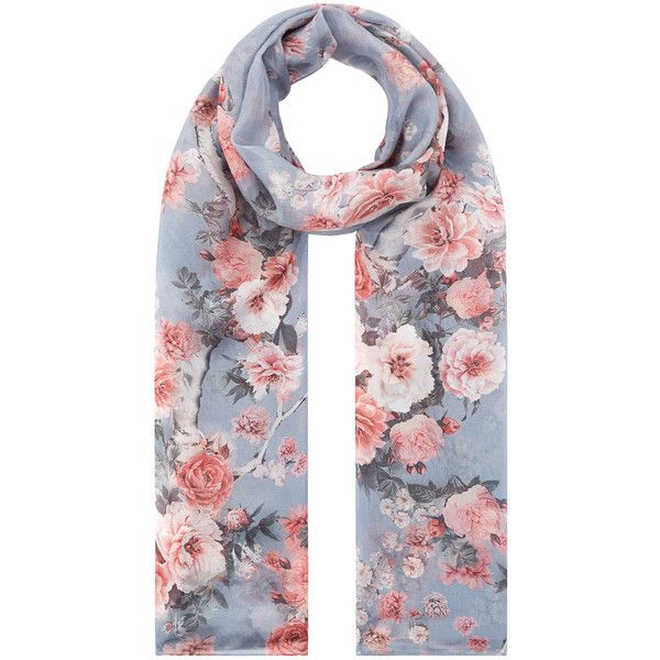 Accessorize Japanese Blossom Silk Scarf (28.670 CLP) ❤ liked on Polyvore featuring accessories, scarves, accessorize scarves, pure silk scarves, flower scarves, silk scarves and silk shawl