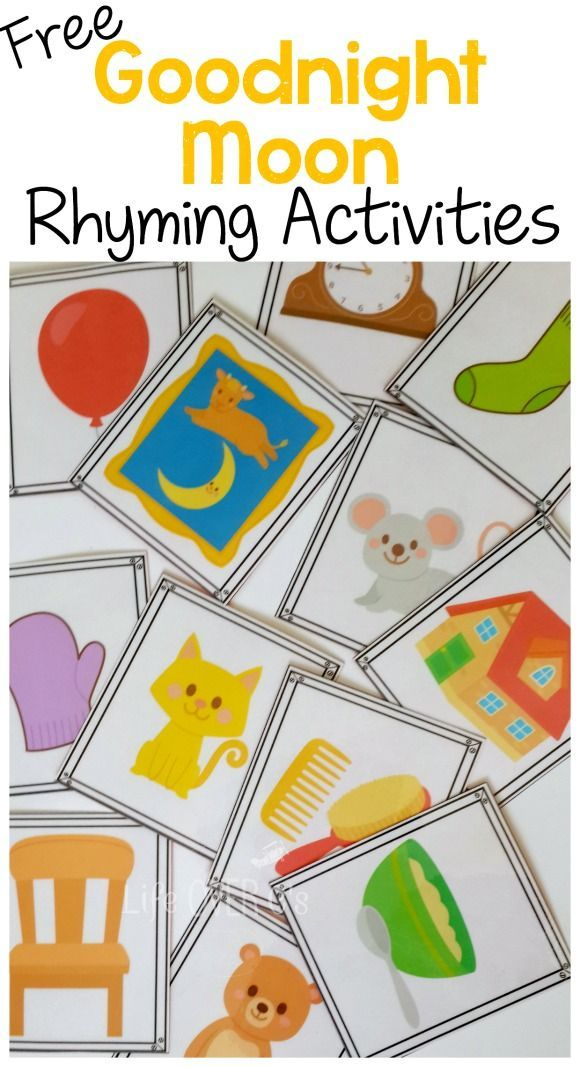 3 Free Rhyming Activities for Goodnight Moon: cards for playing memory, I Spy and an emergent reader.
