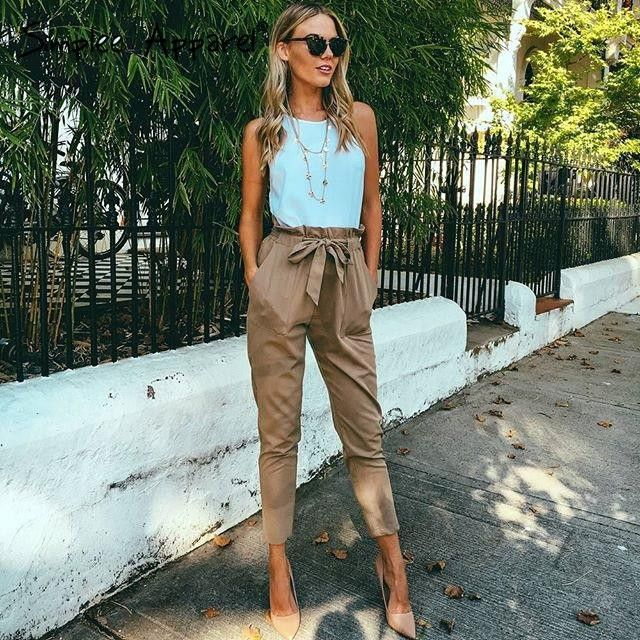 Harem pants with high waist trousers More