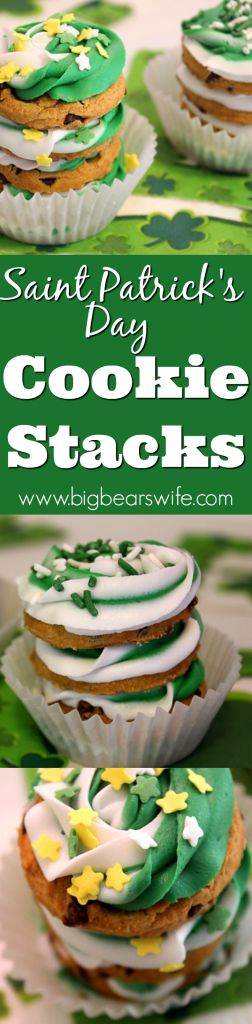 Saint Patrick's Day Cookie Stacks - No need to go super crazy with the St. Patricks Day treats! Sometimes, simple is best! These no bake Saint Patrick's Day Cookie Stacks are easy to decorate and fun to eat!