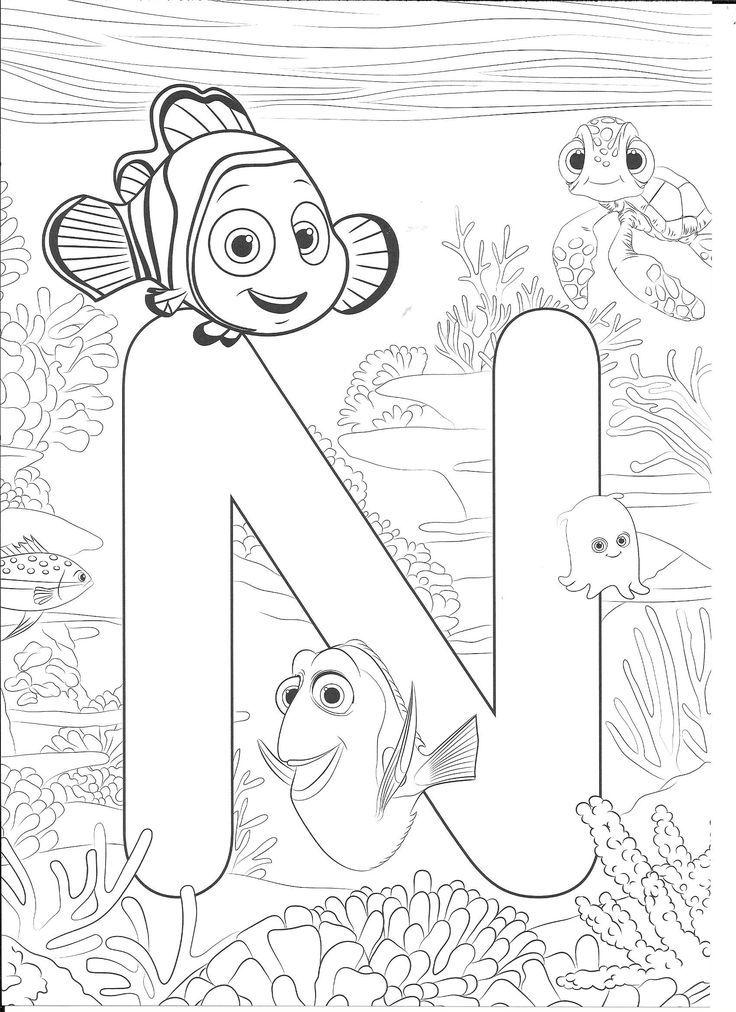 Nemo coloring page Disney colouring alphabet Abc
