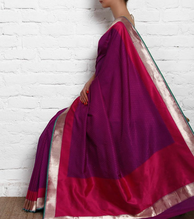 Purple Silk Saree with Self Weaves