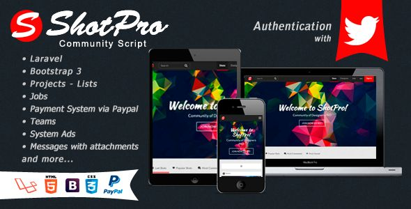 ShotPro Community Script . ShotPro Community Script is a community of graphic designers and web where they share their latest and most impressive works. users can create projects with attachments, lists, follow other users, comment and give me like a shot. In addition to receiving notifications, send private messages with