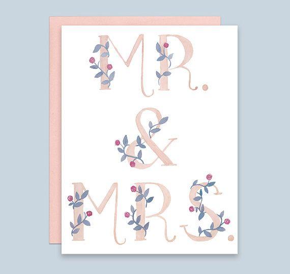 Mr. & Mrs. Wedding Card, Wedding Congratulations Card, Wedding Shower Card…