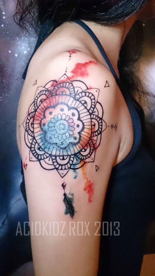 Roxiehart666 Acidkidz Tattoo Water Color Mandala Dream