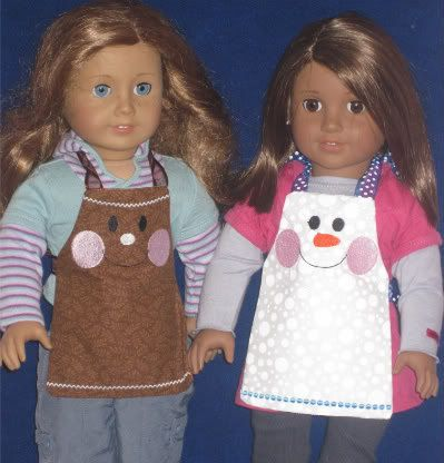 Christmas In July Sale!!! 18 inch Doll Ginger and Snowman Aprons Embroidery Machine Designs for the 5x7 hoop