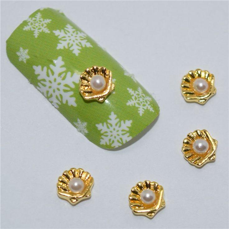 10psc New White pearl shell 3D Nail Art Decorations,Alloy Nail Charms,Nails Rhinestones  Nail Supplies #456
