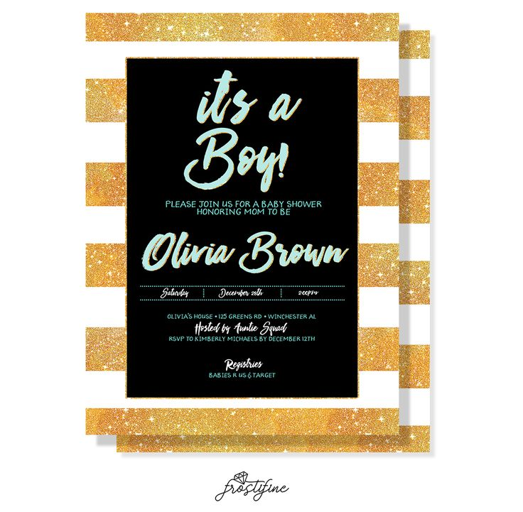 It's a boy baby shower invitation, black and white,gold glitter stripes baby shower printable invite. Gold glitter details adds wow factor to this gorgeous set.